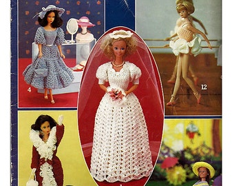Vintage Crocheted Fashion Doll Clothes - fits Barbie - Leisure Arts 268
