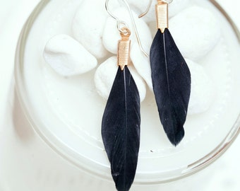 small black feather earrings