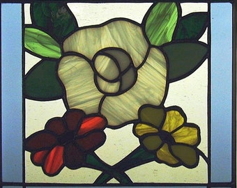 "12"" X 12"" Stained Glass ""Wedding Panel"" Pattern PDF B&W Digital Download"