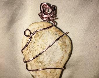 White Stone Wire Necklace