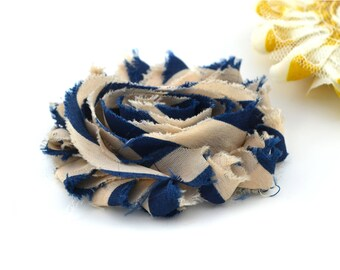 Fabric flower Navy Blue and beige striped 6cm, sew or glue