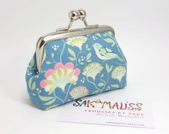 Tiny kiss lock  purse, Tilda fabric, birds & flowers on blue / Coin purse with clasp
