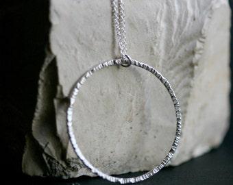 Silver Texture Circle Necklace, Modern Textured Circle Sterling Silver Necklace, forged Silver