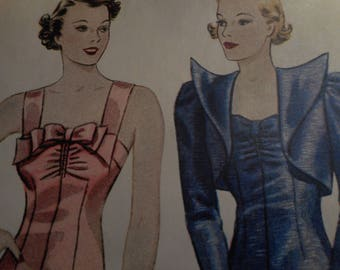 RARE Vintage 1930's Simplicity 2258 Evening Dress and Bolero Sewing Pattern, Size 16 Bust 34