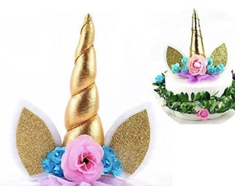Unicorn Cake Topper Gold Unicorn Birthday Cake Unicorn Birthday Party Unicorn Cake Unicorn Cupcake Topper Happy Birthday Sign