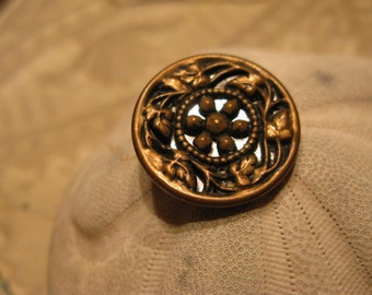 """Large Vintage Twinkle Brass Overlay Filigree Mirrored Button, Aged to Perfection, Tad over 1 """" from Old Stash, More in SeaSeaRider"""