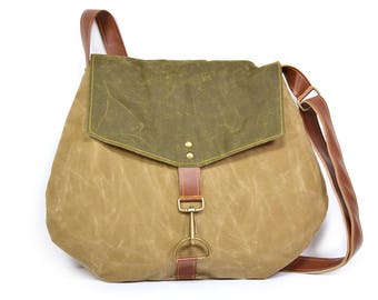 satchel • waxed canvas crossbody bag • waxed canvas bag - brown waxed canvas - cross body purse