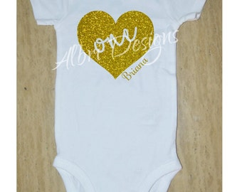 First birthday baby bodysuit (or t-shirt) with name, gold glitter, heart, baby girl birthday, One year old, toddler, Personalized shirt