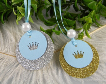 Royal Prince Baby Shower Decoration / Princess Party First Birthday Girl or Boy Favor tags / Gold or Silver Crown Princess Party / 10 tags