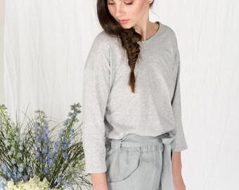 Organic cotton grey 3/4 sleeve top