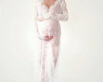 FREE SHIPPING to CANADA Lace Maternity Dress/ Maternity Gown/ Milk Bath Gown