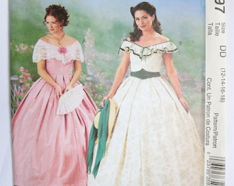Ball Gown Pattern, Costume Pattern, Civil War Pattern, Southern Belle, Gone With the Wind, McCalls, McCalls 3597, Scarlet Ohara, Crinoline