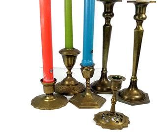 Vintage BRASS CANDLESTICK HOLDERS  6 Antique Brass Candleholders Set Asian Boho Decor Candle Holders