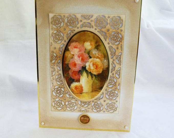 Floral Greeting Card, Birthday Card, Thinking of You Card, Filigree Framed, Decoupage Card, Female, Any Age
