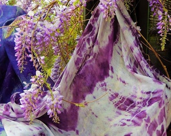 Natural silk scarf, painted with vegetable extraction colors