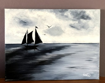 Ship on the horizon acrylic on canvas original painting home decor wall hanging