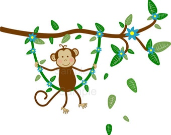 Monkey Wall Decal, Monkey Wall Sticker, Jungle Wall Decal, Jungle Monkey Swinging on Branch with Leaves Wall Decal for Kids Room, For Boys