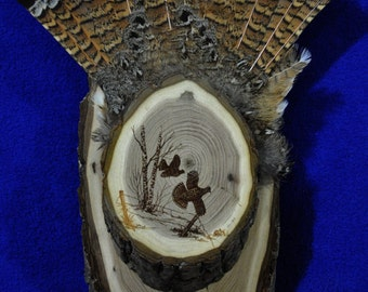 Hunting. Grouse Hunting. Grouse Fan Display. Grouse Fan Mount. Grouse Tail Panel. Grouse Fan Board. Grouse Feathers Mount. Made USA