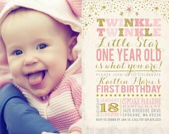 Twinkle Twinkle Little Star Birthday Invitation, Little Star First Birthday, Twinkle Twinkle Little Star Invitation, PRINTABLE ID: BD125900