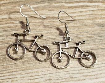 Bicycle earrings, Bike jewelry,Bicycle jewelry,sport jewelry,silver earrings,Bicycle