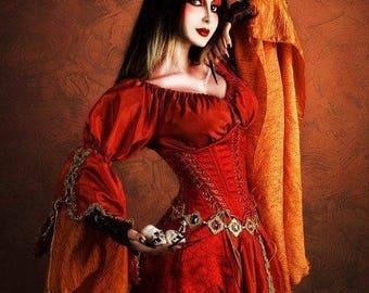 Fantasy dress Phoenix inspired, LARP costume cosplay, fairy wedding dress, long red gown, Rennaissance Fair