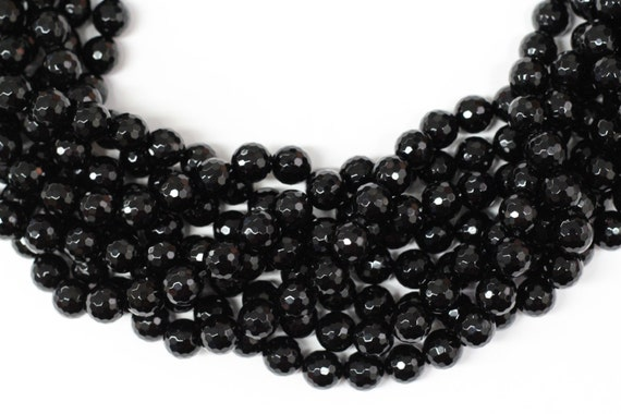 """Black Onyx 10mm faceted round beads 16"""" length strand"""