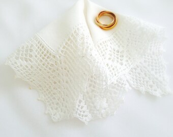 Vintage Handkerchief, White Hanky, Small Crocheted Hankie,  Lace Edges, Small Vintage Hanky,  Flower Girl, Bridesmaid, 7 Inches