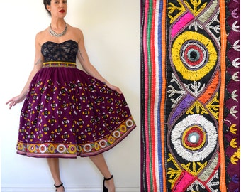 Vintage 50s 60s Eggplant Purple Heavily Embroidered Full Circle Cotton Skirt (size small, medium)