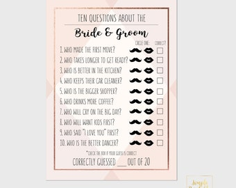 Ten Questions About the Bride & Groom   Bridal Shower Printable