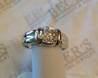 Vintage 18k pink and white gold 9 Diamond Pave Set  Ring with Ribbed Bar Shoulders by Sidalo, .09 tw HI-SI1-2-I1, size 7.25+