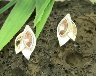 Earrings silver with gold 585 / - and tourmaline