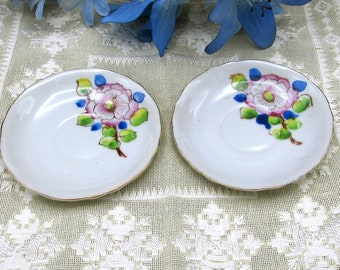 2 Small Floral Saucers, Spring Floral Saucers, Dipping Saucer, Ring Dish, Trinket Dish