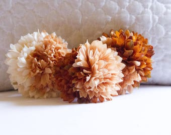 Set of 3 Brown and Oatmeal Ombre Pom Pom Hair Flowers // Quality Fashion Accessories / Luxury Hair Styling Headpieces // Styling Accessories