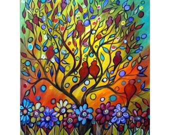Birds Painting Original Canvas Whimsical Tree Landscape Flowers Painting on Canvas Ready to Ship HAPPY SERENADE by Luiza Vizoli