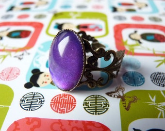 Metallic Purple Oval Gem Ring Kawaii Goth - Bronze Adjustable Filigree Band