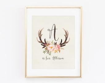 Antler Nursery Wall Art Printable Baby Name Digital File, Girl Tribal Woodland Baby Shower Decor, Deer Floral Personalized Gift