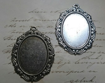Cameo setting - 30x40mm cameo cabochon - choose silver or brass