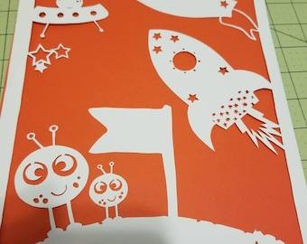Outer space, space, papercut, decoration, decor, wall art, paper art, alien, boy, home decor