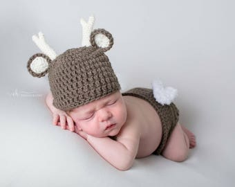 Newborn deer outfit, newborn deer, infant deer hat, newborn deer photo, baby deer, deer baby set, newborn deer, crochet deer outfit