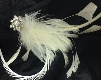Ivory & White handmade in the USA Bridal Wedding Fascinator Feather Hair Clip Rhinestone