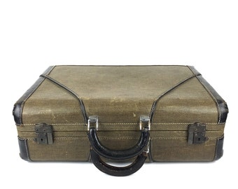 Vintage Suitcase Vintage Tweed 1950s Luggage Suitcase Tweed Suitcase Vintage Tweed Suitcase Old Striped Leather Suitcase