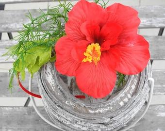 Flower headpiece, floral wreath, flower crown, hair accessories, celebration, original present, tropical, hawaiian party, red, hibiscus
