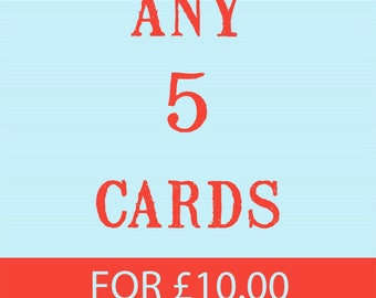 Any (5) Cards, Set of Five, Pack of Five, Christmas Cards, Card Sets,  LIKKS Cards