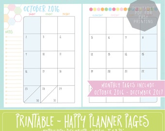 Happy Planner PRINTABLE Monthly Planner Refills / Inserts - 7 x 9.25 | Sorbet | Create 365 | Me & My Big Ideas | mambi | Dated | 2016 | 2017