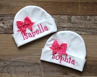 Personalized Preemie Beanie Hat- Monogram Preemie Hat- Twin Preemies