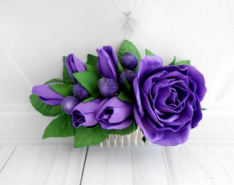 Ultra violet Flower hair comb Bridesmaid flower headpiece Floral bridal hair piece Mothers day gift mother daughter Rose flower hair piece