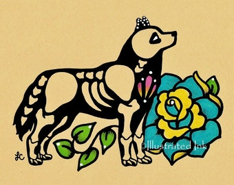 Day of the Dead Dog SIBERIAN HUSKY Dia de los Muertos Art Print 5 x 7, 8 x 10 or 11 x 14 - Choose your own words - Shelter Donation
