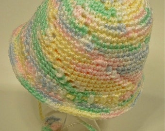 Baby Toddler Hat Crochet Classic Pastel Color Fleece Lined Bucket Style
