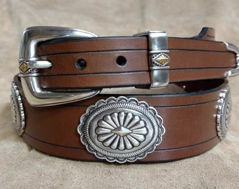 Leather Concho Belt with Ranger Buckle Set Silver Color