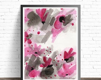 Abstract Floral Print. Watercolor flowers. Abstract Watercolor print. Floral wall art. Abstract flower painting print. Modern wall art